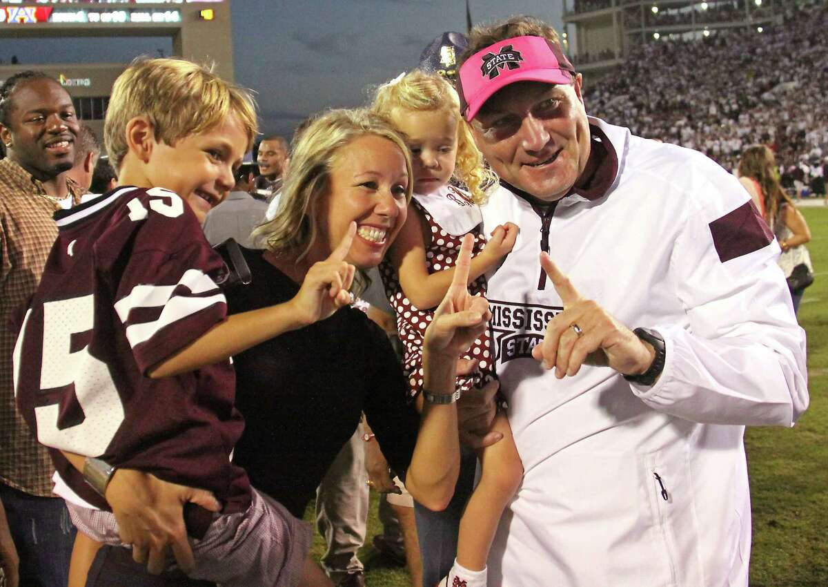 Mississippi State coach Dan Mullen and his family celebrate after Saturday's win over No. 2 Auburn.