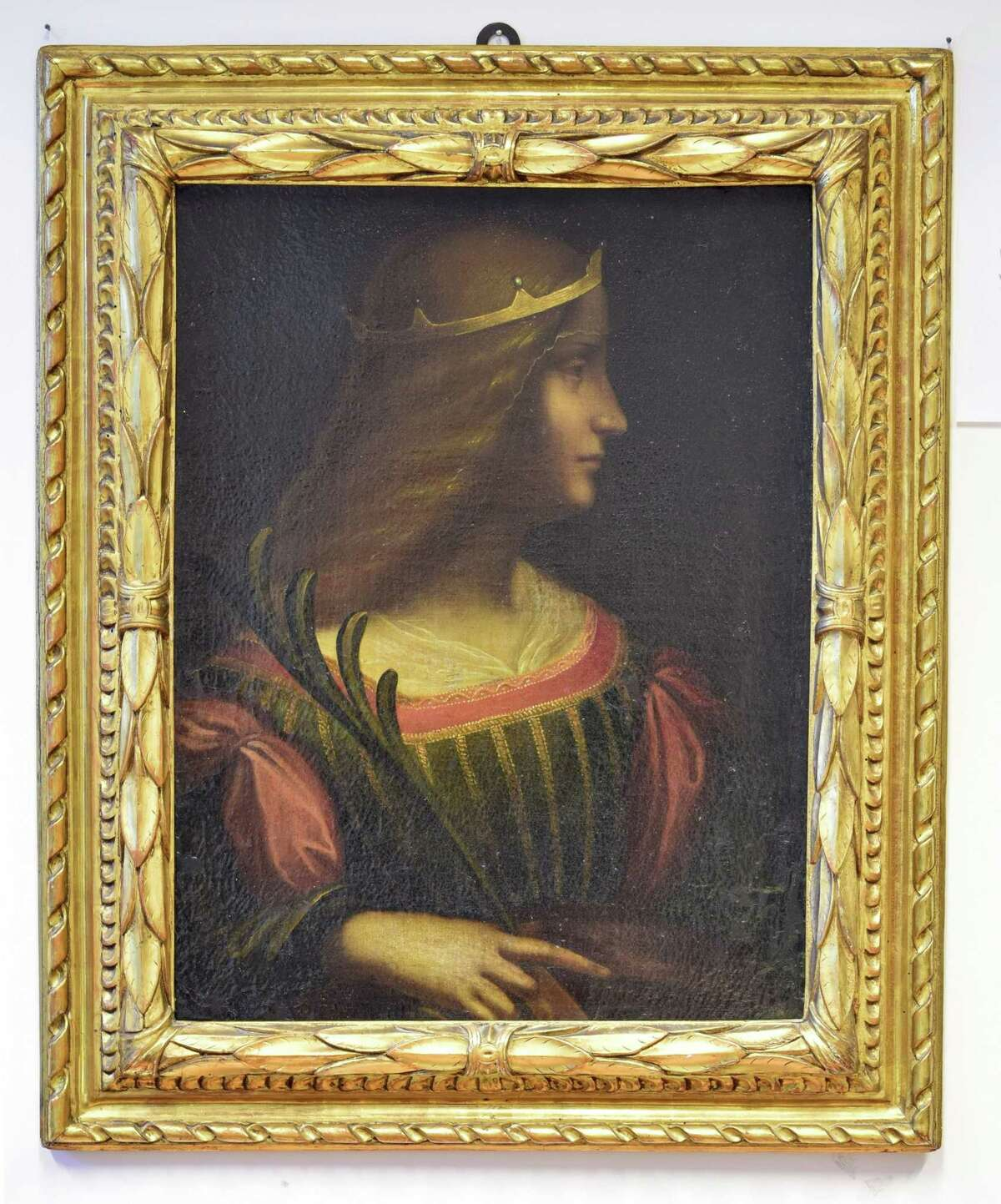 "This photo provided by the police of Swiss Canton Tessin shows the painting, ""Ritratto di Isabella d'Este,"" which was seized by the police of Ticino Tuesday. Italian authorities have ordered the seizure from a Swiss bank vault of the portrait, which may have been painted by Leonardo da Vinci and which they said was illegally removed from Italy. Italian financial police said Tuesday that Swiss authorities had seized the portrait of the Renaissance-era noblewoman, valued at 95 million euros (US$ 107 million). Isabella D'Este was also painted twice by Titian."