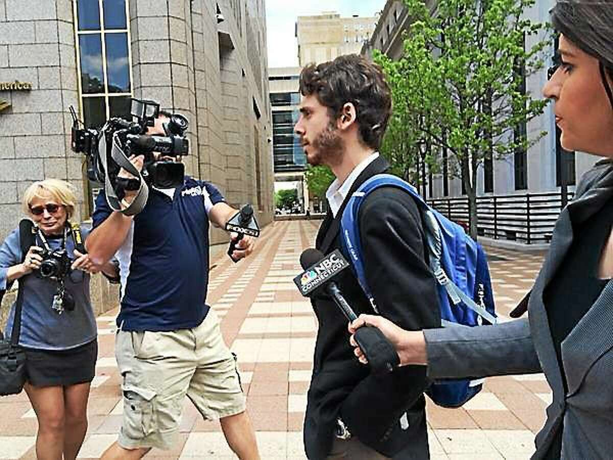 Former Wesleyan University student Eric Lonergan leaves the courthouse in New Haven May 23.