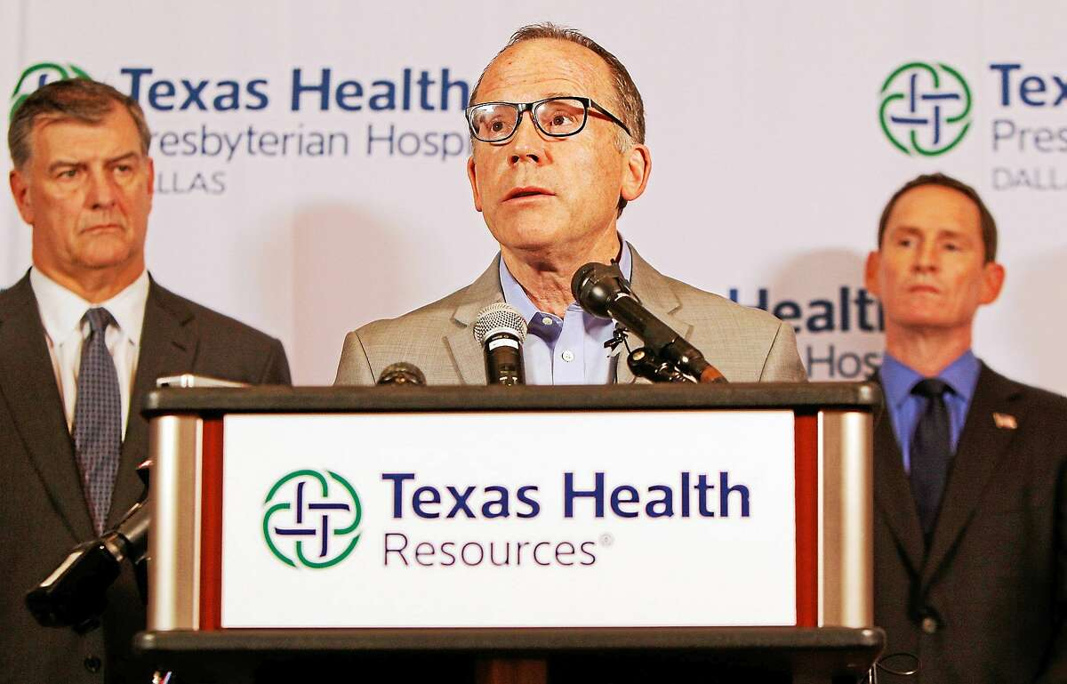Texas Health Presbyterian Hospital Chief Clinical Officer Dr. Daniel Varga answers questions about a health care worker who provided hospital care for Thomas Eric Duncan who contracted Ebola, during a press conference at the hospital on Oct. 12, 2014, in Dallas.