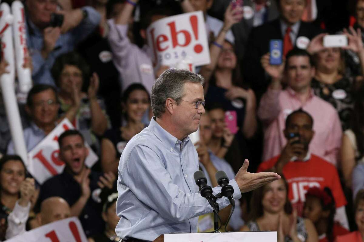 Former Florida Gov. Jeb Bush acknowledges applause before announcing his bid for the Republican presidential nomination, at Miami Dade College on June 15, 2015, in Miami.