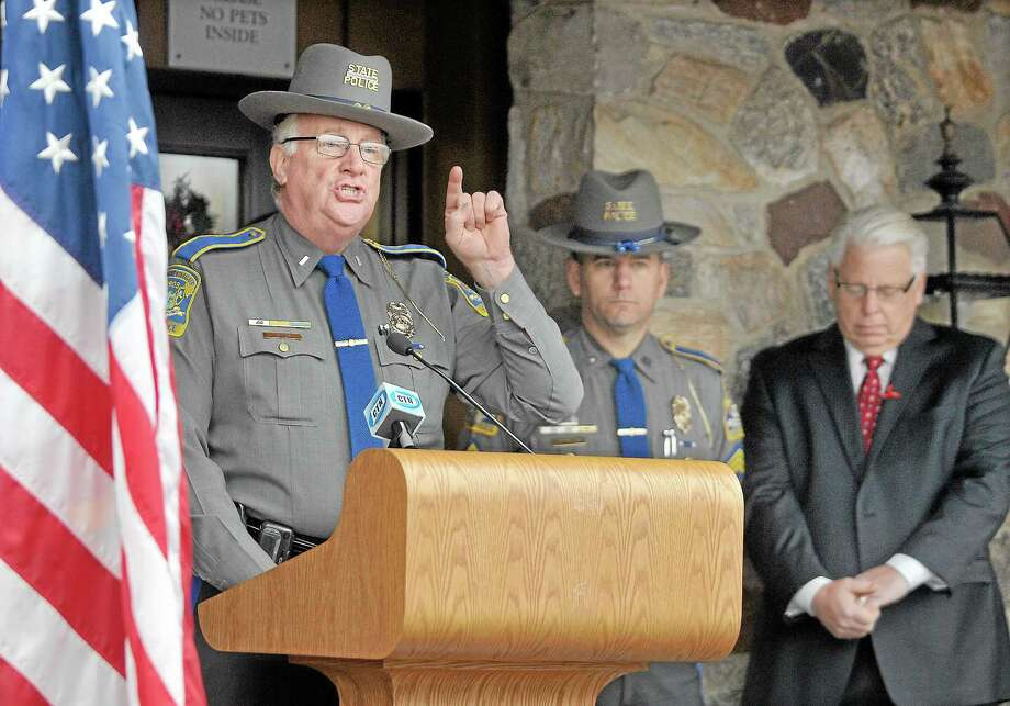 In this 2013 file photo, Lt. J. Paul Vance of the Connecticut State Police speaks at a press conference at the Middletown rest area on Interstate 91. Photo: Catherine Avalone — The Middletown Press  / TheMiddletownPress