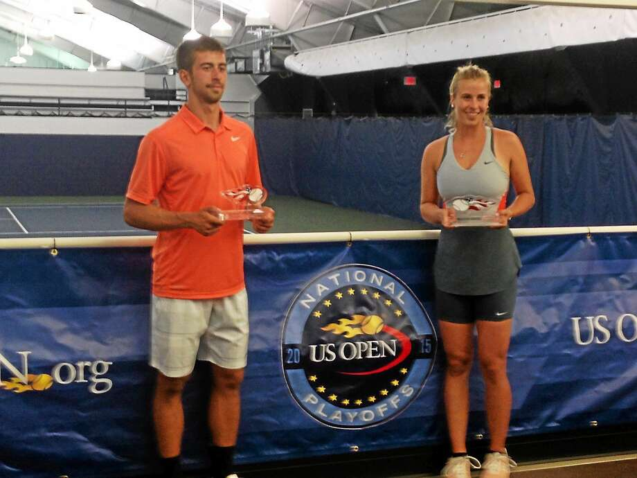 Hleb Maslau and Simona Weymer won the mixed doubles championship on Monday at the Cullman-Heyman Tennis Center. Photo: Chris Hunn — Register