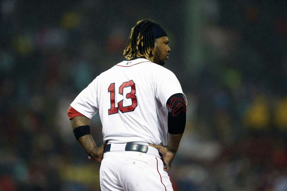 Hanley Ramirez reacts after grounding into a fielders choice to end the sixth inning on Monday. Photo: Michael Dwyer — The Associated Press  / AP