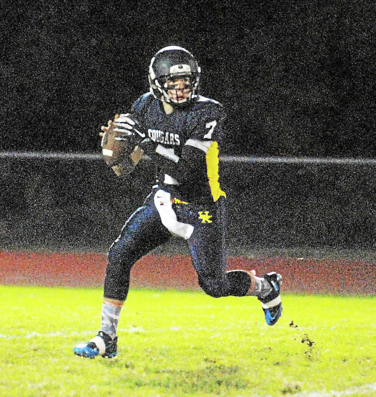 H-K junior quarterback Alex Segaline tossed three touchdown passes and returned an interception for a touchdown in the Cougars' 44-18 win Thursday.