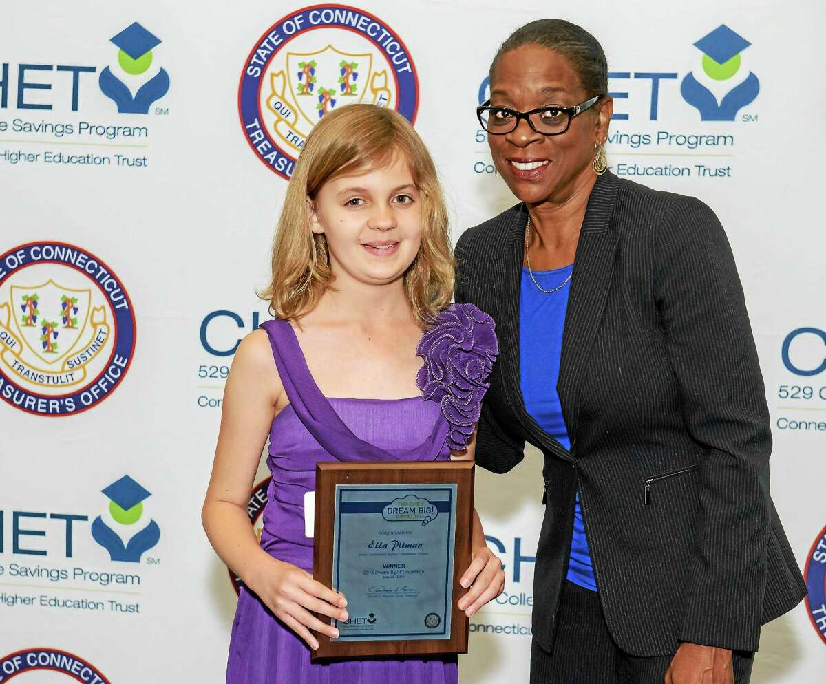 Ella Pitman, who attends Essex Elementary School, was one of eight area student winners of the Connecticut Higher Education Trust Dream Big! Competition. Macdonough School in Middletown also won a $500 prize in the competition.