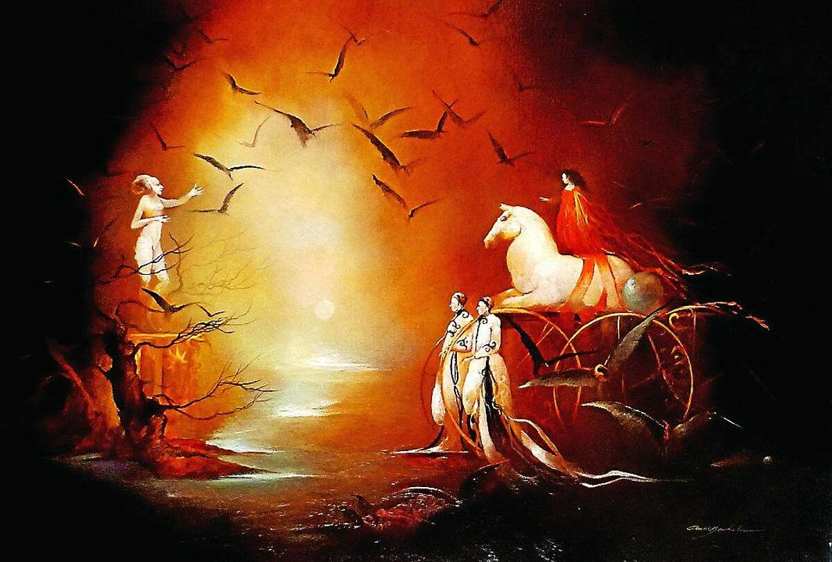 Image courtesy of the artist Le Fin Du Voyage, Oil on Canvas, Anne Bachelier, 32x21.25, $9500,2010. This and other paintings and works of art are on display at Six Summit Gallery in Chester.