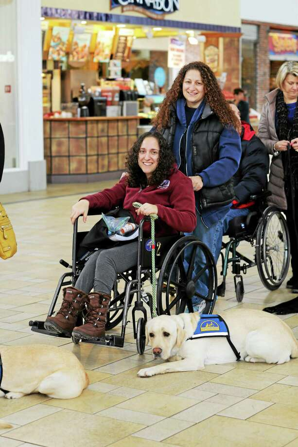 Molly Carta, a vocational counselor for the disabled, was recently matched with assistance dog Dasher from Canine Companions for Independence. She's a graduate of Middletown High School who has cerebral palsy. Photo: Journal Register Co.