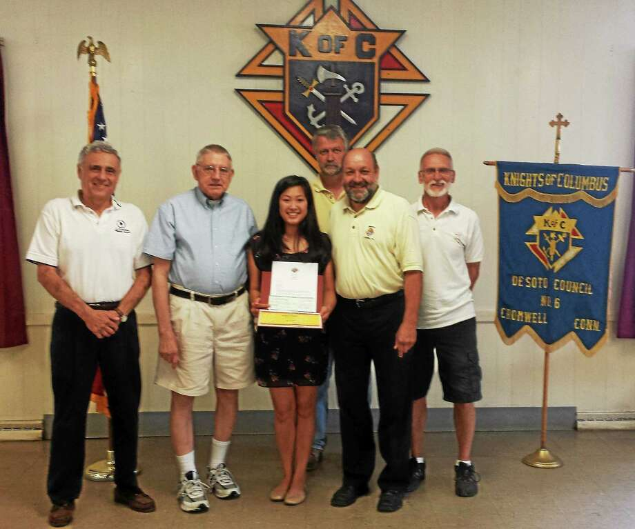 Knights of Columbus Council #6 awarded the annual Richard Czapiga Scholarship to Amelia Vess of Cromwell, a Mercy High School student. Photo: Courtesy Knights Of Columbus