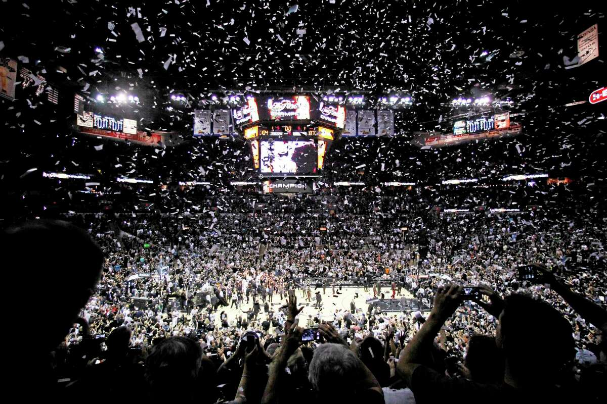 Confetti falls after Game 5 of the NBA Finals between the San Antonio Spurs and the Miami Heat on Sunday.