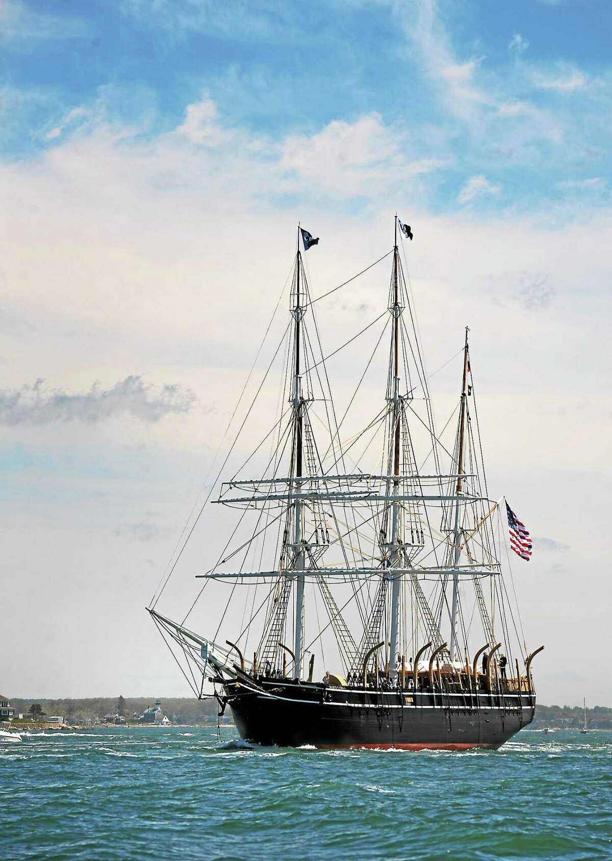 The historic whaleship Charles W. Morgan cruises the open water of Fishers Island Sound off Groton, Conn., as the ship makes its first voyage since 1941 en-route from the Mystic Seaport to New London, Conn. on May 17, 2014.