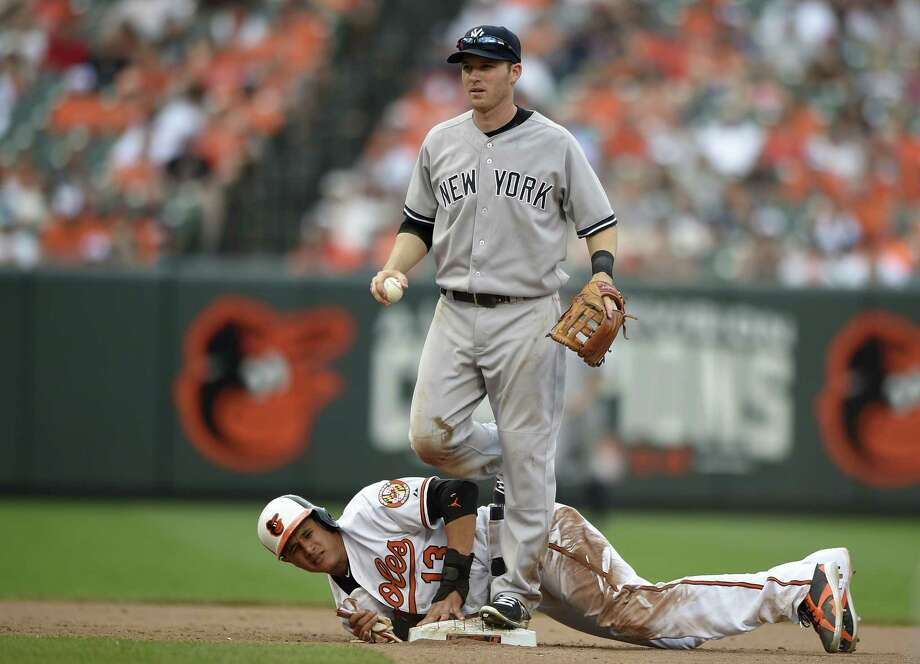 Yankees second baseman Stephen Drew, top, steps over the Orioles' Manny Machado after Machado was out at second on Sunday. Photo: Nick Wass — The Associated Press  / FR67404 AP