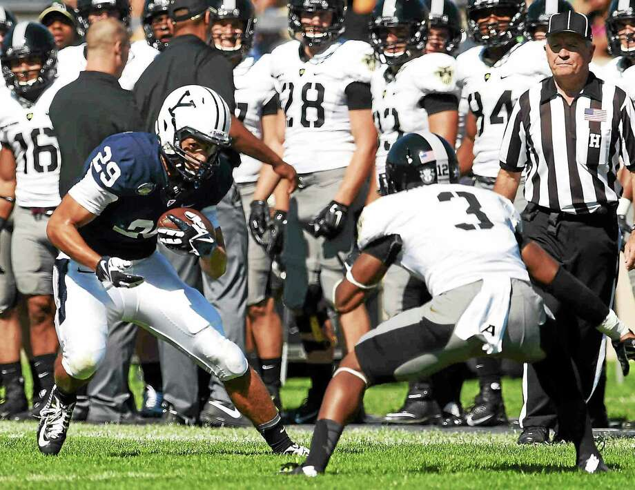 Yale senior receiver Grant Wallace (29) is enjoying his role in one of the nation's most prolific offenses. Photo: Peter Hvizdak — Register  / Peter Hvizdak