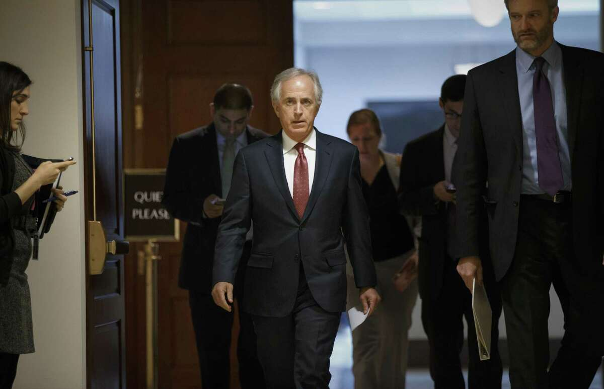 Senate Foreign Relations Committee Chairman Sen. Bob Corker, R-Tenn. leaves a closed-door security briefing on nuclear negotiations with Iran on Tuesday on Capitol Hill in Washington.