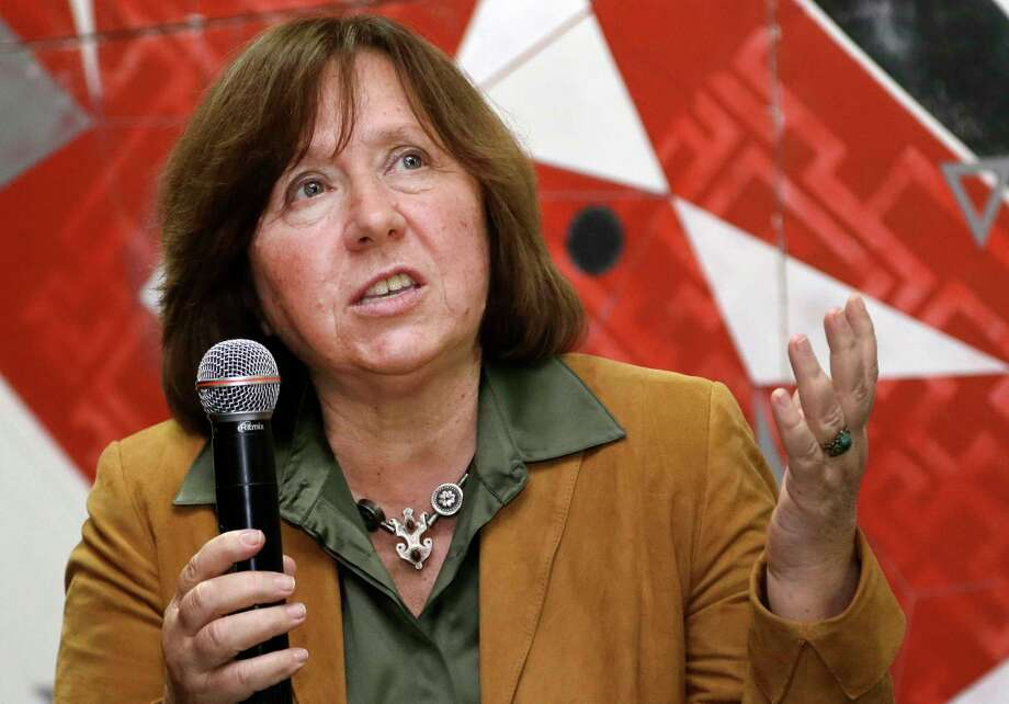 "In this photo taken on Sept. 16, 2014, Belarusian journalist Svetlana Alexievich speaks in Minsk, Belarus. Belarusian writer Svetlana Alexievich won the Nobel Prize in literature on Oct. 8, 2015 for works that the prize judges called ""a monument to suffering and courage."" Photo: AP Photo/Sergei Grits  / AP"