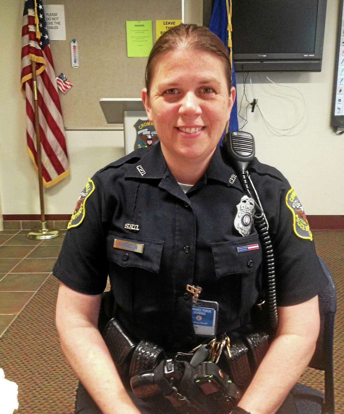 Cromwell school resource officer Sherry Borgeson is leaving her post at the Woodside Intermediate and middle schools to return to the real estate business.