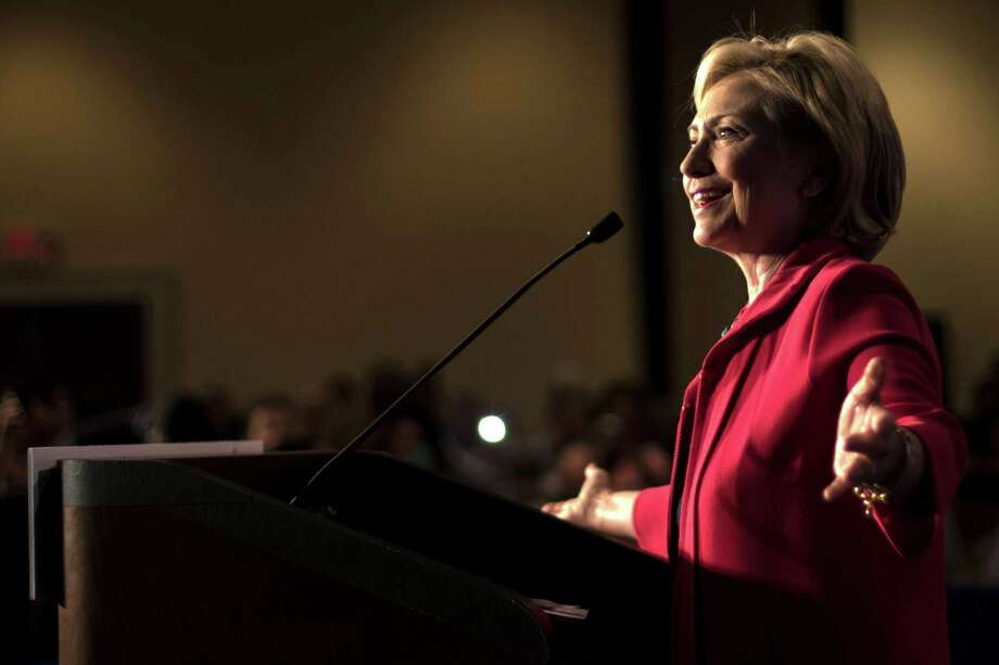In this July 23 file photo, Democratic presidential hopeful Hillary Rodham Clinton speaks at a Hillary For American Discussion with Mayors and Local Official event in Columbia, S.C. Photo: Associated Press  / FR56856 AP