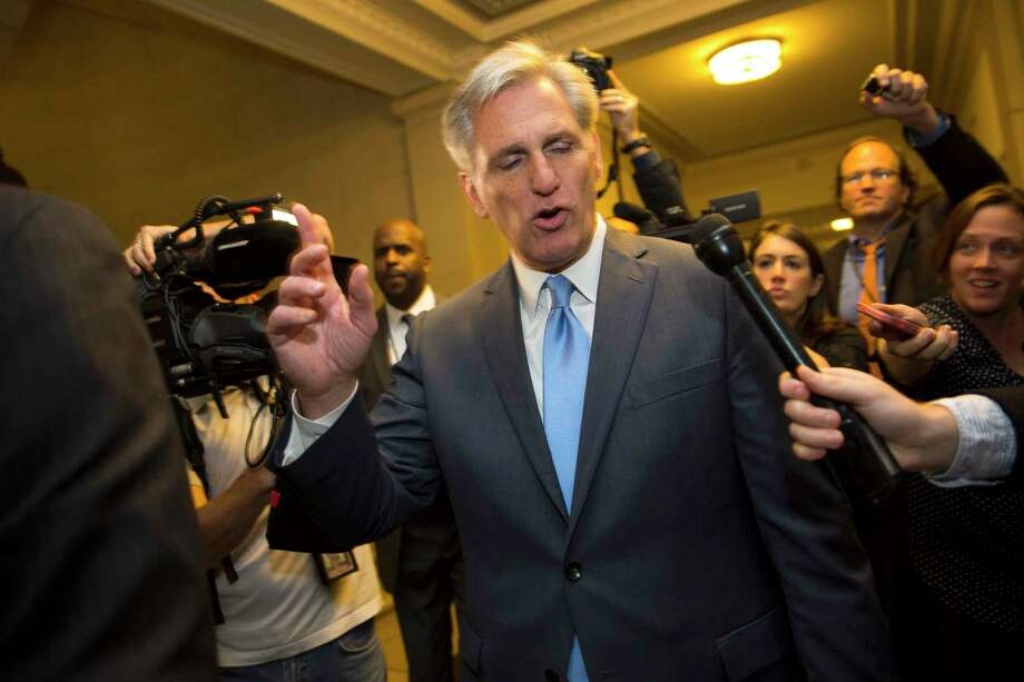House Majority Leader Kevin McCarthy of Calif. walks out of nomination vote meeting after dropping out of the race to replace House Speaker John Boehner on Oct. 8, 2015 on Capitol Hill in Washington. In a stunning move, McCarthy withdrew his candidacy for House speaker Thursday, throwing Congress' Republican leadership into chaos. Photo: AP Photo/Evan Vucci  / AP