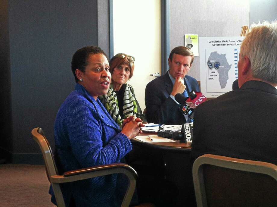 Jewel Mullen, commissioner of the state Department of Public Health, addresses a panel of state and local health experts, along with Connecticut's U.S. senators and U.S. Rep. Rosa DeLauro, D-3, at the city's Health Department Thursday. Officials agreed that Connecticut is ready to deal with the developing Ebola outbreak, but stressed the need for preparedness. Photo: (Wes Duplantier -- New Haven Register)