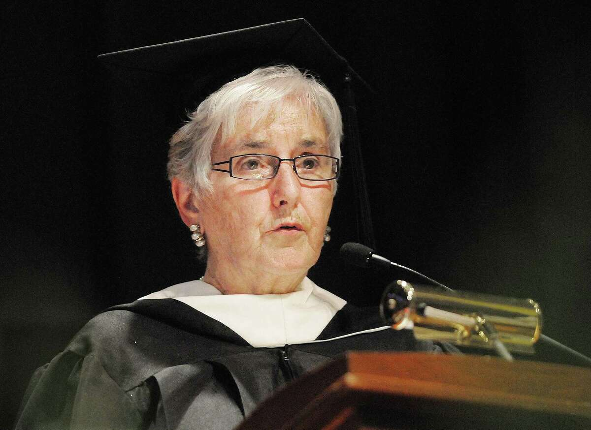 Mercy High School President Sister Mary McCarty speaks at Mercy High School's class of 2013 commencement Thursday evening. Catherine Avalone - The Middletown Press
