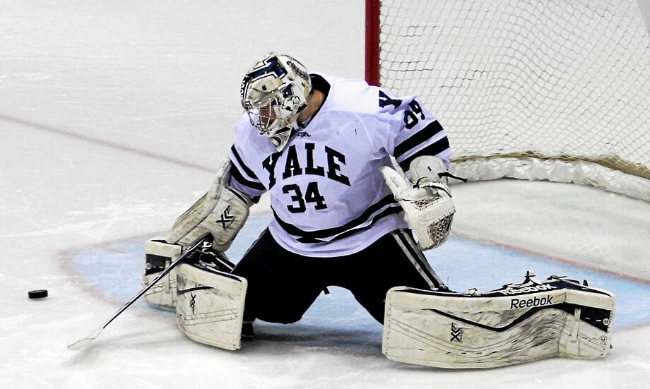 Yale goalie Alex Lyon led the nation in goals-against average, shutouts and save percentage last season. Photo: Register File Photo  / Steve Musco