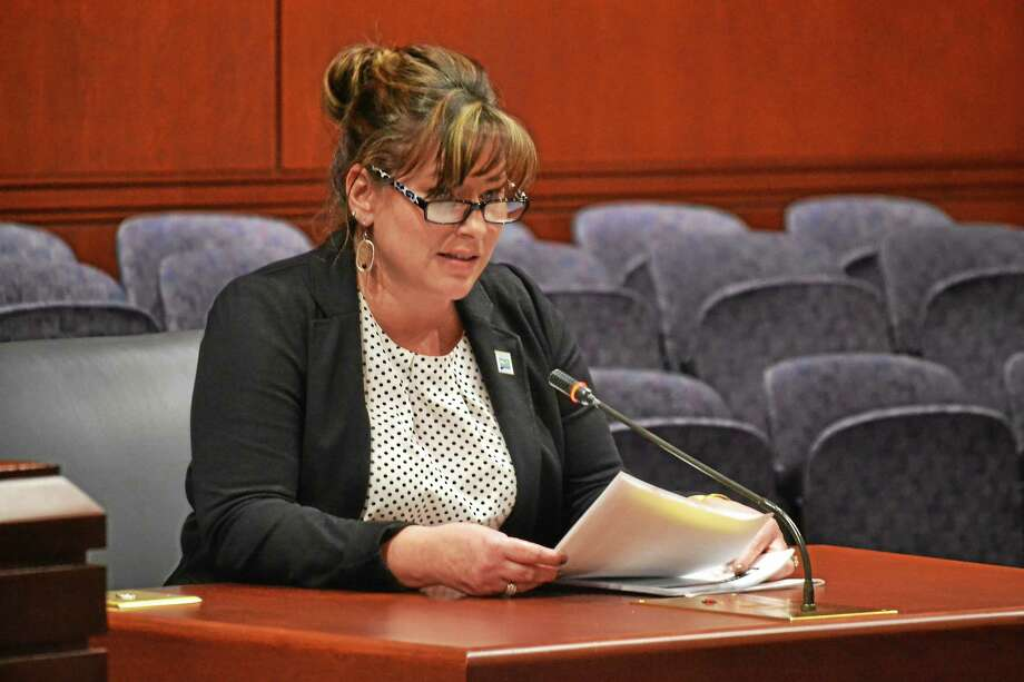 Rep. Ziobron provides testimony in support of a bill she proposed this legislative session; her bill would increase the threshold required for passage of unfunded mandates. Photo: Journal Register Co.