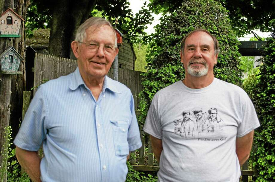 Samantha Mathewson — New Haven Register Old Saybrook's Lyle Bishop, left, and David Sullivan will be visiting Washington D.C. memorials Sunday as part of an Honor Flight New England trip. Photo: Journal Register Co.