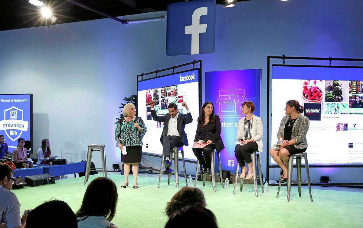 IMAGE DISTRIBUTED FOR FACEBOOK - (From Left to Right) Small business guru Rhonda Abrams hosts a panel of local New York Businesses, Astor Row Cafe Emmanuel Pena, The Yarn Company Dr. Tavy Ronen, Roundabout Theater Company Alexandra Barber and Fairway Market Jacqueline Donovan, who share their success stories at the first-ever Facebook Fit event for small businesses at Skylight Clarkson Square, on Tues., June 3, 2014 in New York. (Photo by Amy Sussman/Invision for Facebook/AP Images)