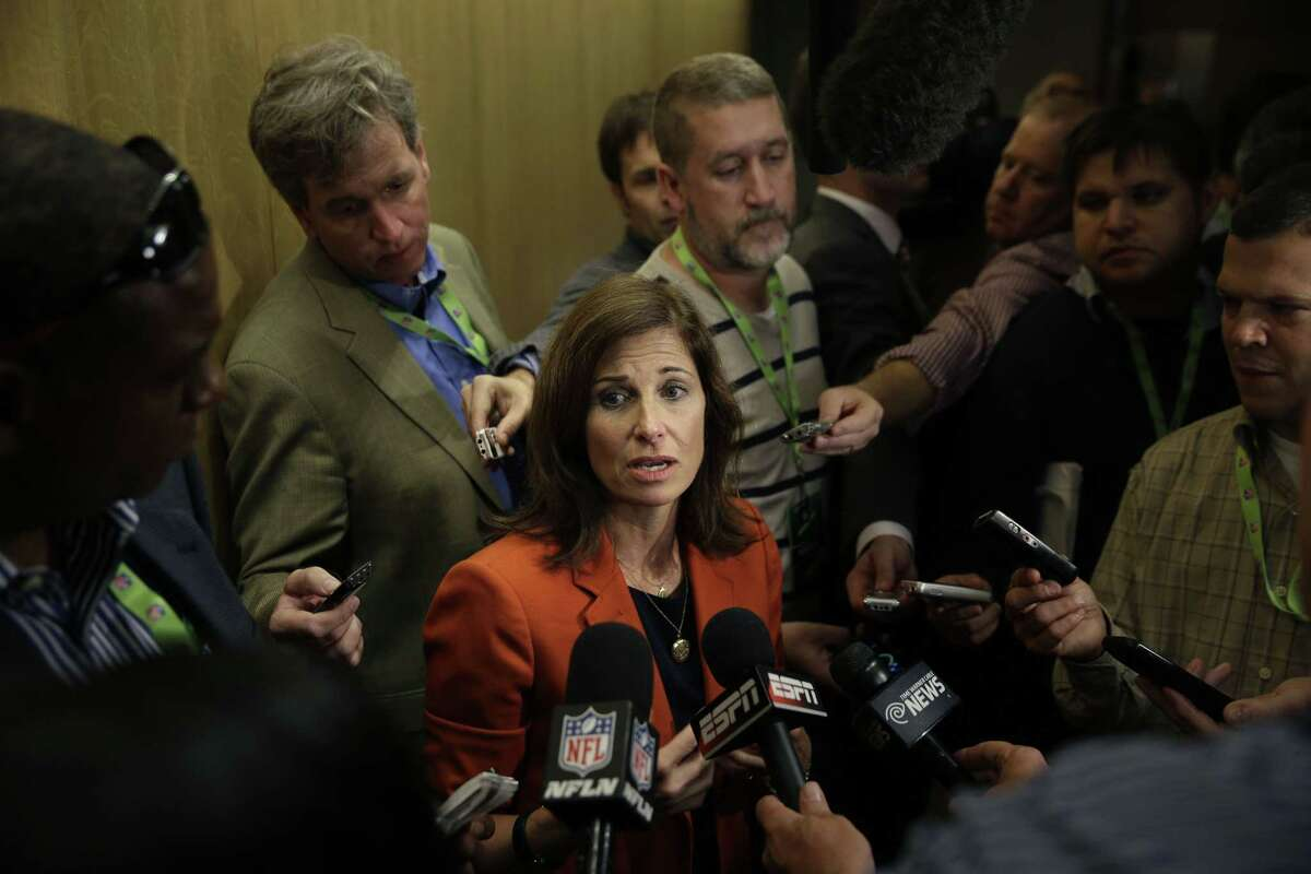 Lisa Friel, vice president of the Sexual Misconduct Consulting & Investigations division for T&M Protection Resources, talks with reporters during a meeting of NFL owners and executives in New York on Wednesday.