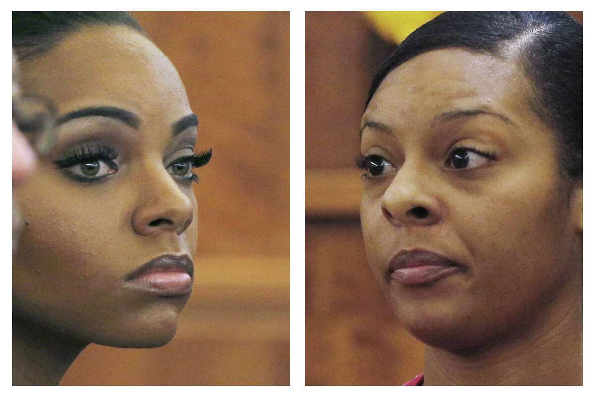 In this combo of file photos, Shayanna Jenkins, left, fiancee of former NFL football player Aaron Hernandez, listens to her sister Shaneah Jenkins, right, testify during Hernandez's murder trial at Bristol County Superior Court in Fall River, Mass.