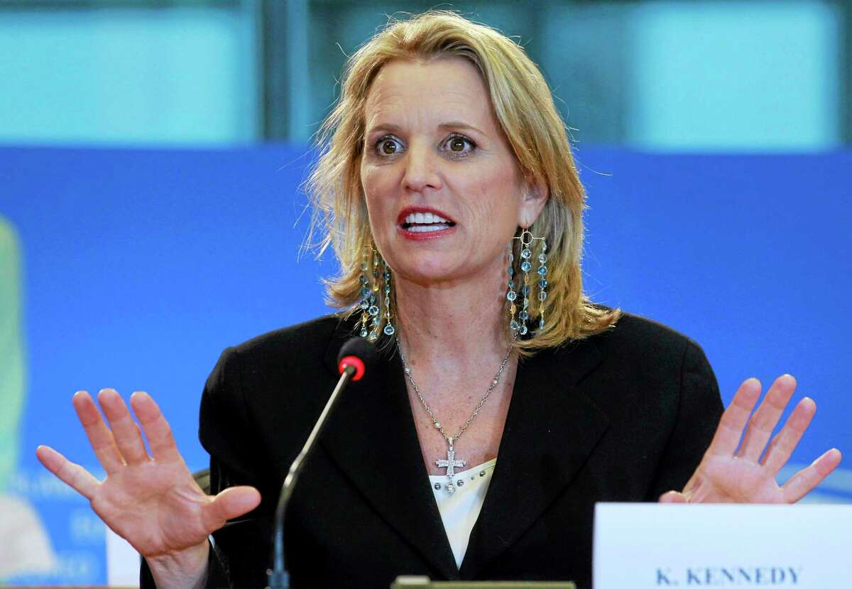 FILE - In this Feb. 19, 2014 file photo, Human rights activist and writer Kerry Kennedy from the U.S. addresses the media at the European Parliament building in Brussels. Jurors will hear Monday, Feb. 24, 2014, about Kennedy's morning routine and daily medications as they consider whether she's guilty of drugged driving. The case against Kennedy, daughter of the late Sen. Robert Kennedy and ex-wife of New York Gov. Andrew Cuomo, goes to trial Monday morning in suburban White Plains. In 2012, Kennedy was arrested after her car hit a tractor-trailer on an interstate highway near her home in the New York City suburbs. (AP Photo/Yves Logghe, File)