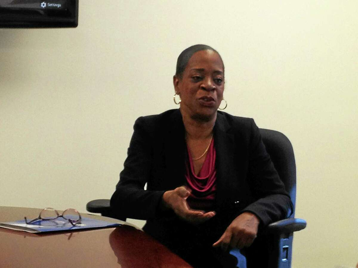 Connecticut Treasurer Denise Nappier talks to the New Haven Register editorial board Wednesday.