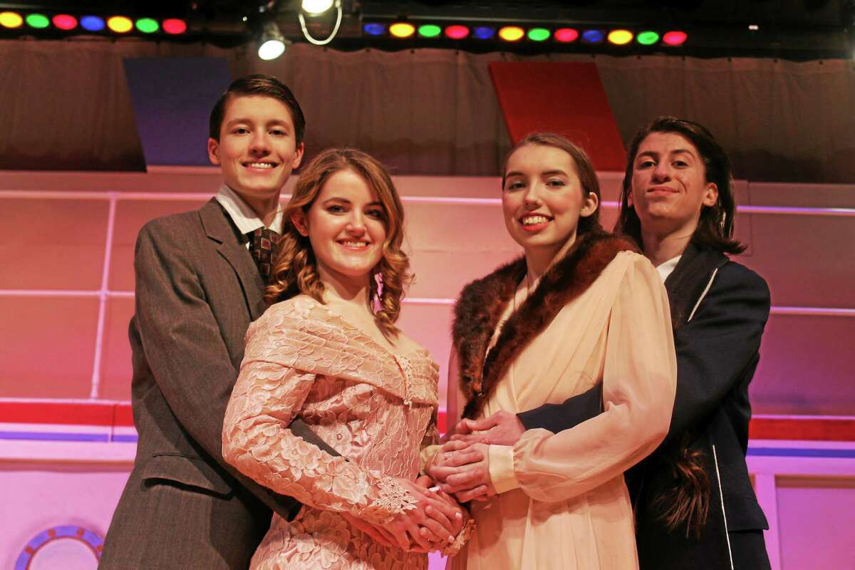 """From left are the cast of """"Everything Goes"""" being performed later this month at Cromwell High School: Blaise Serra as Lord Evelyn Okleigh, Emma Randazzo as Hope Harcourt, Julia Allen as Mrs. Evangeline Harcourt and David O'Neill as Elisha J. Whitney."""