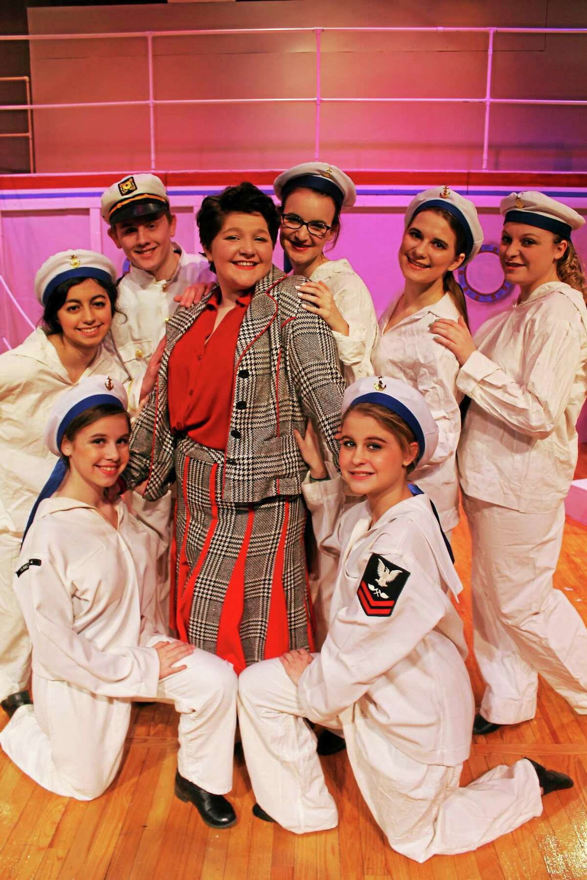 Shown are Jordan Lane as Erma, surrounded by sailors, from left, Emily Inho, Claire Rodriquez, Ryan Adams, Katie Picard, Polina Khitsenko, Taylor Woike and Emma Smith.