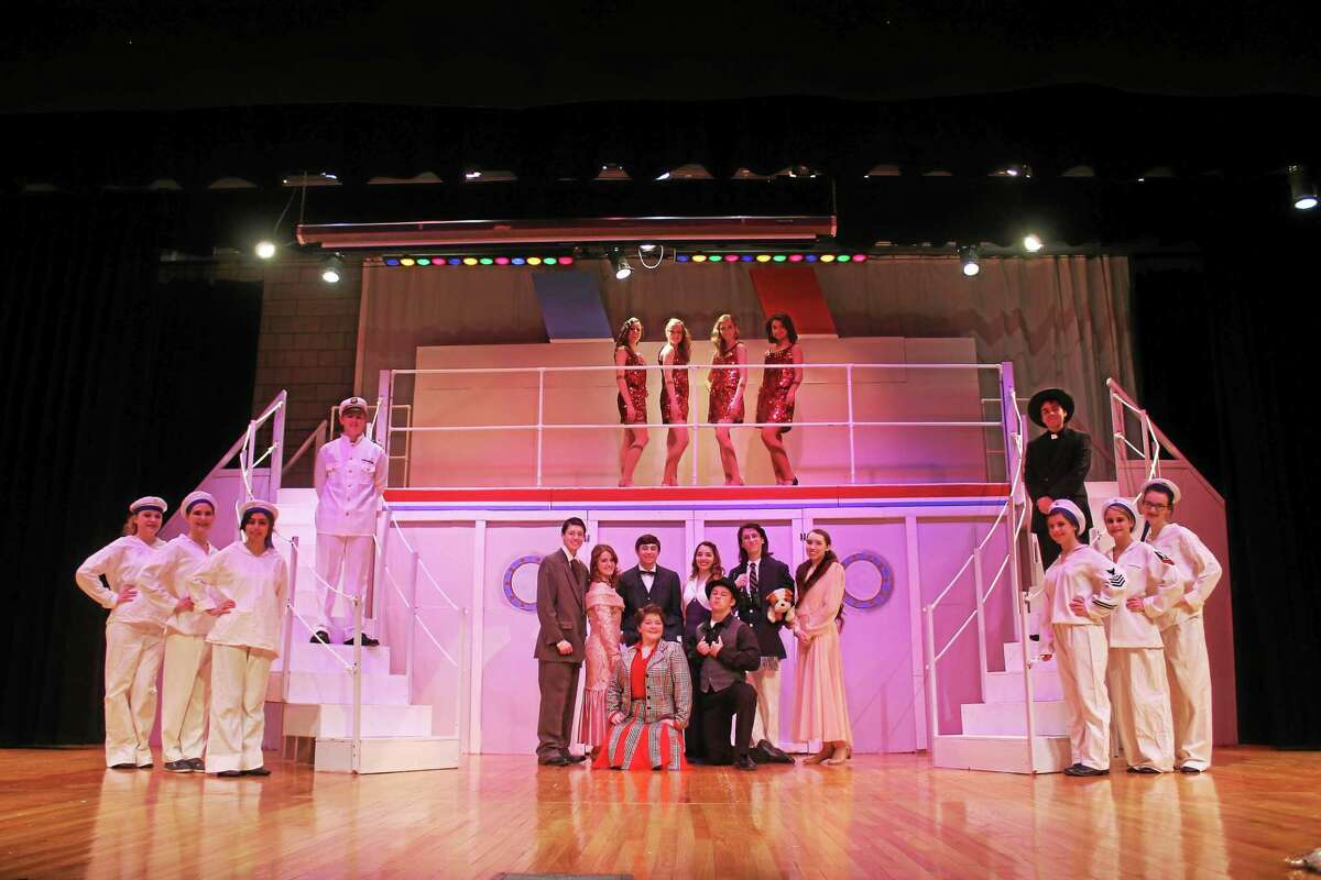 """The entire cast of """"Anything Goes,"""" playing at Cromwell High School on Feb. 20 and 21."""