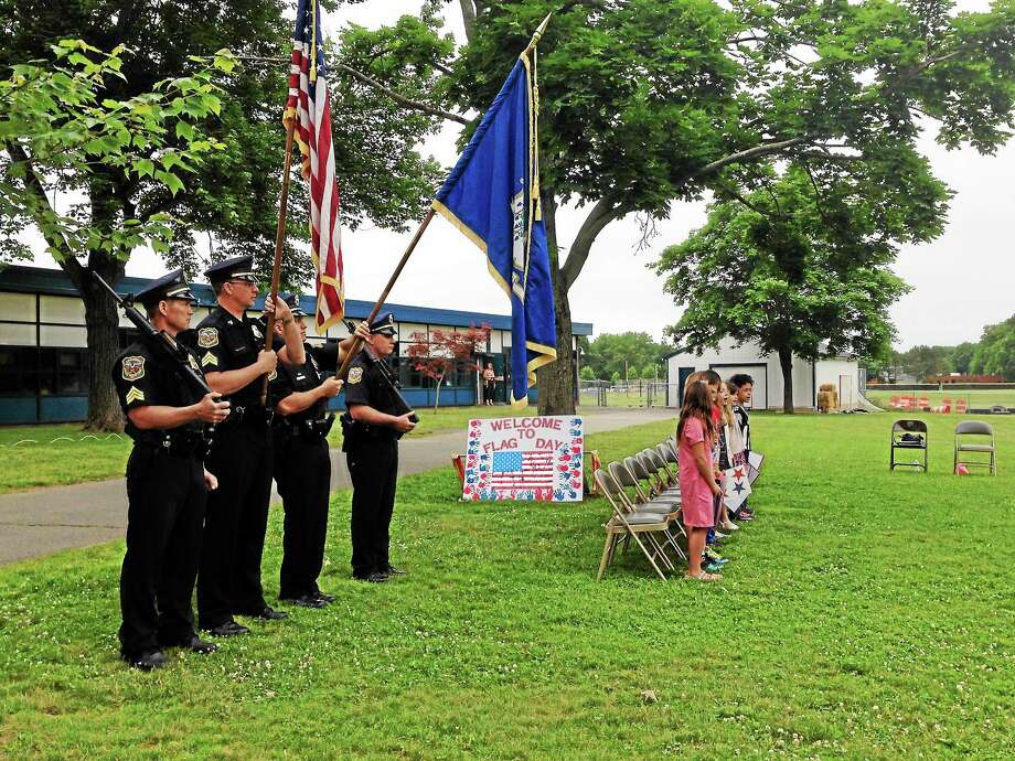 Celebrating Flag Day has been a tradition for more than 35 years at the Edna C. Stevens School in Cromwell. Photo: Kaitlyn Schroyer — The Middletown Press