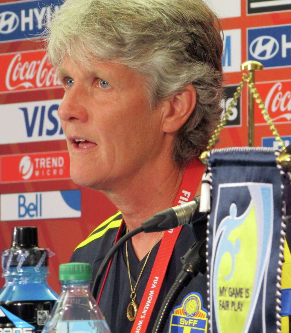 Sweden coach Pia Sundhage speaks during a news conference at the FIFA Women's World Cup on Thursday in Winnipeg, Manitoba. Sundhage will coach against her old team, the United States, when they play in a first-round match.