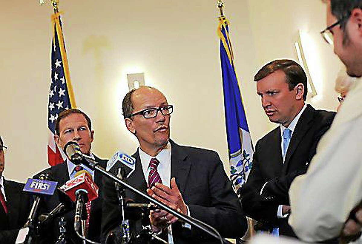 U.S. Labor Secretary Thomas Perez at a press conference in Hartford Monday. Christine Stuart/CT News Junkie