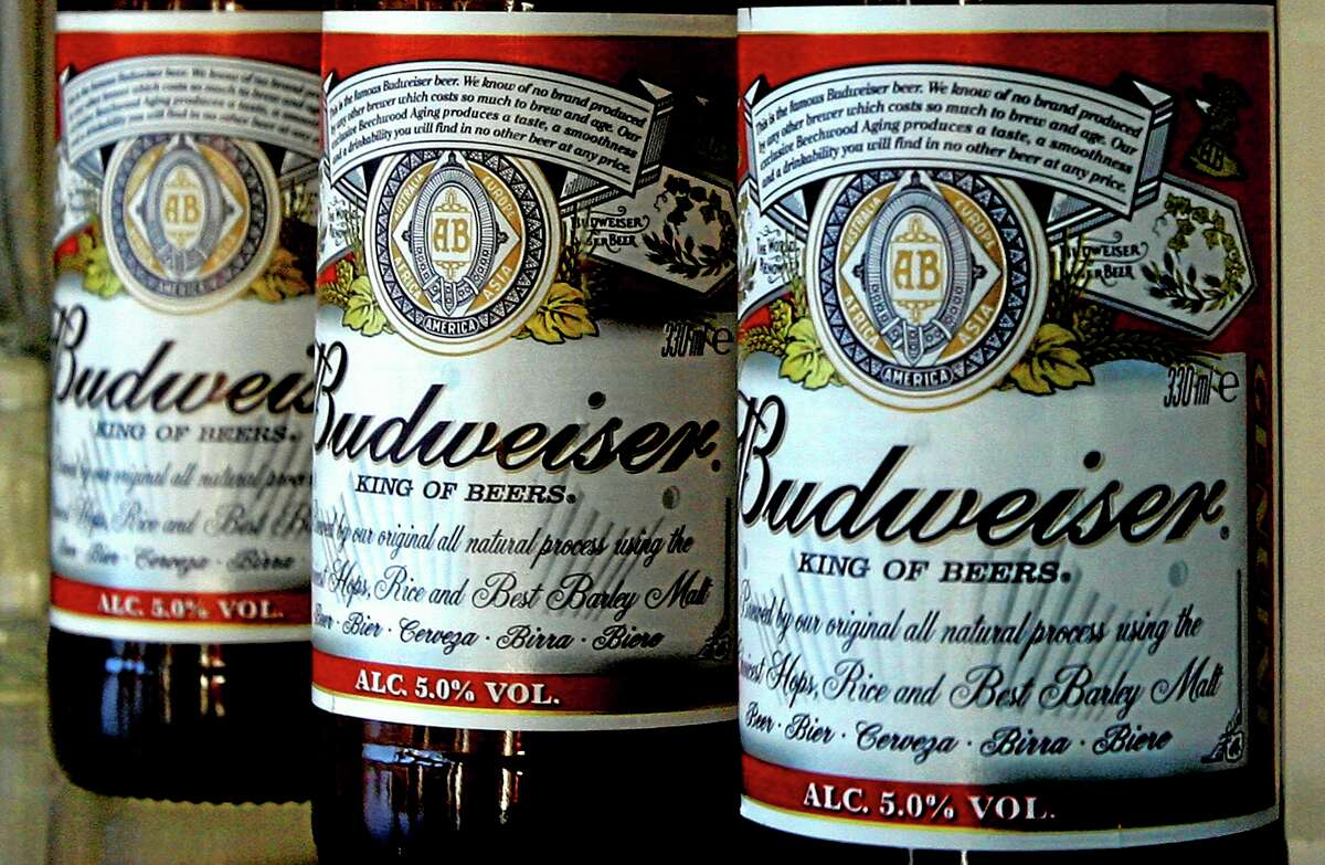 Bottles of Budweiser beer at the Stag Brewery in London.