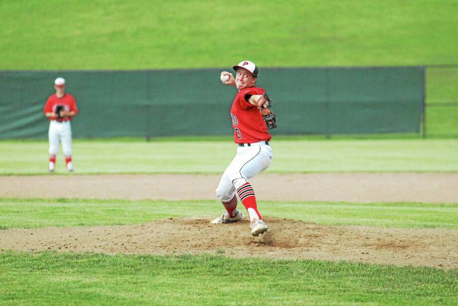 Portland junior Cole Ogorzalek fired a one-hitter with nine strikeouts in the Highlanders' 4-0 Class S semifinal win over Trinity Catholic. Photo: Jimmy Zanor - Middletown Press