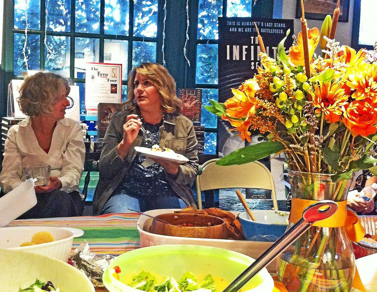Author Sarah Smiley recently spoke at R.J. Julia Booksellers in Madison, where she introduced her book and enjoyed a potluck meal.