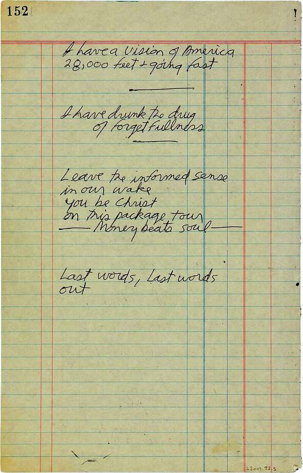This undated photo provided by Paddle8 shows a hand-written poem by Jim Morrison that is being auctioned by Paddle8 with bidding expected to reach 60,000 to $80,000 by the time it ends June 25. Written on the last page torn out of a notebook, ìLast words, Last words outî and ìI have drunk the drug of forgetfulnessî are among the verses found among his possessions in the Paris hotel where he died in 1971. (Paddle8 via AP) Photo: AP / Paddle8