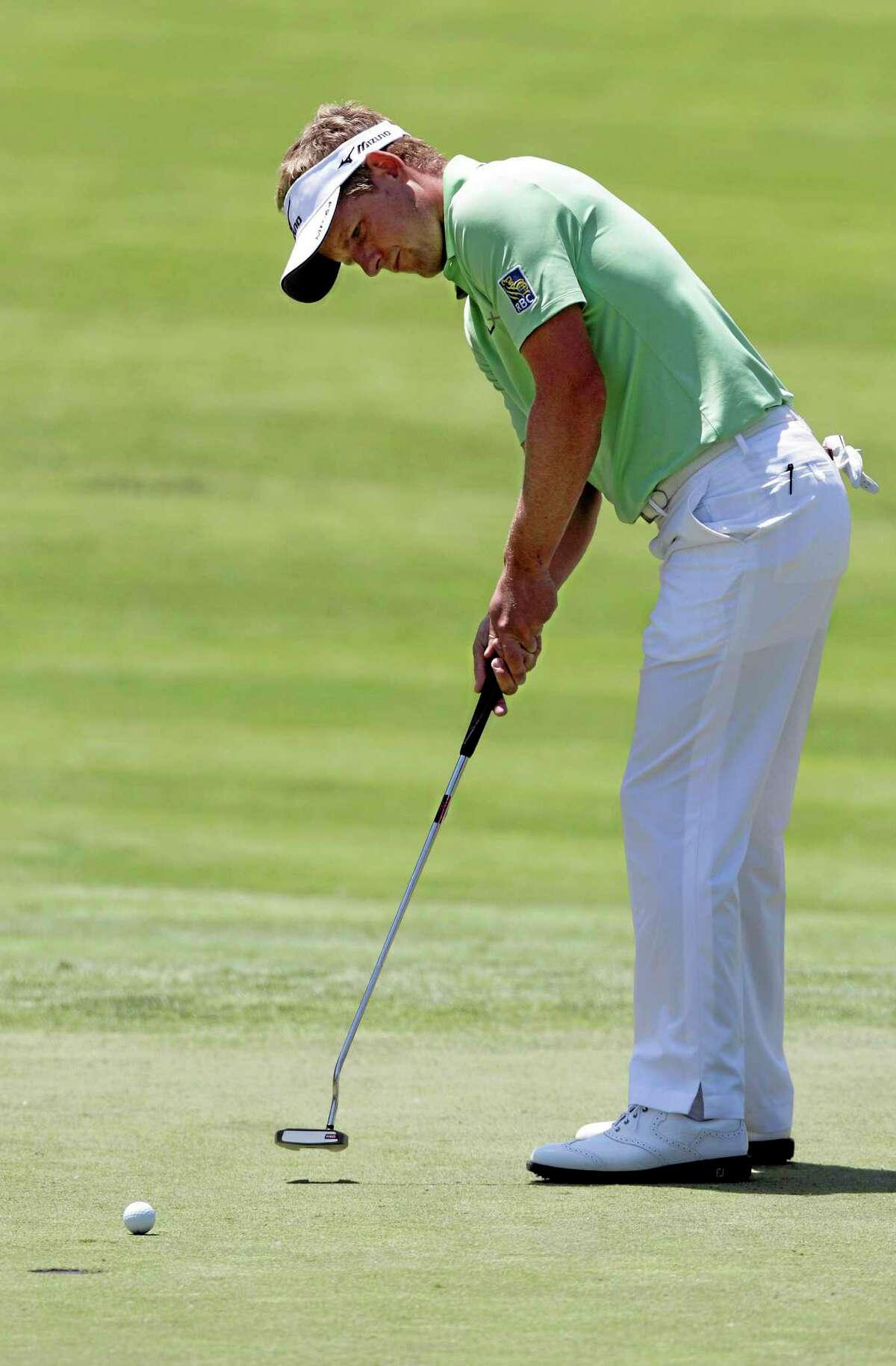 Luke Donald putts on the 13th hole during the second round of the Memorial on May 30 in Dublin, Ohio.