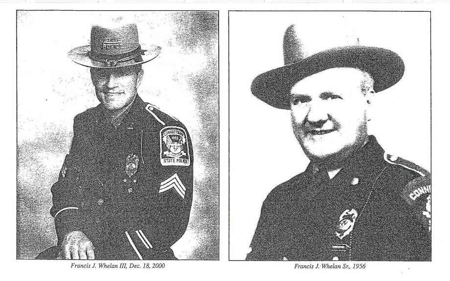 State police Sgt. Francis J. Whelan III (in December 2000) and Inspector Francis J. Whelan Sr. (in 1956) Photo: Journal Register Co.