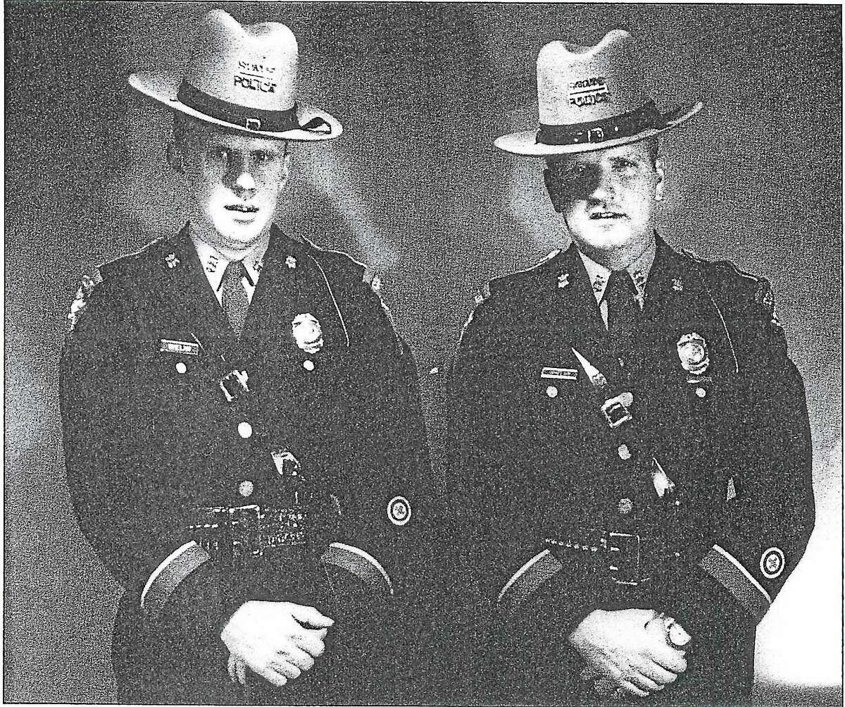 Connecticut state police Troopers Sgt. Francis J. Whelan Jr. and Sgt. Michael Whelan, at the time the first third-generation members of the state police.