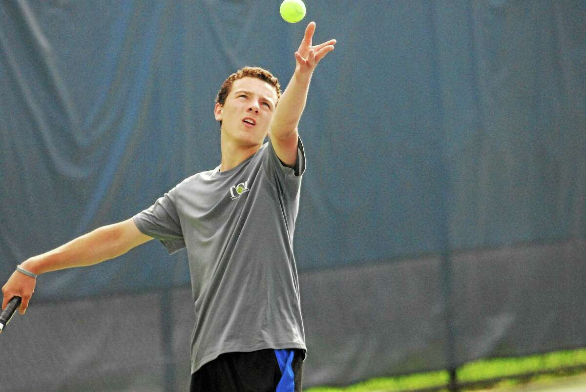 Xavier freshman Richard Ciamarra gets ready to serve in the State Open finals Wednesday at Yale.