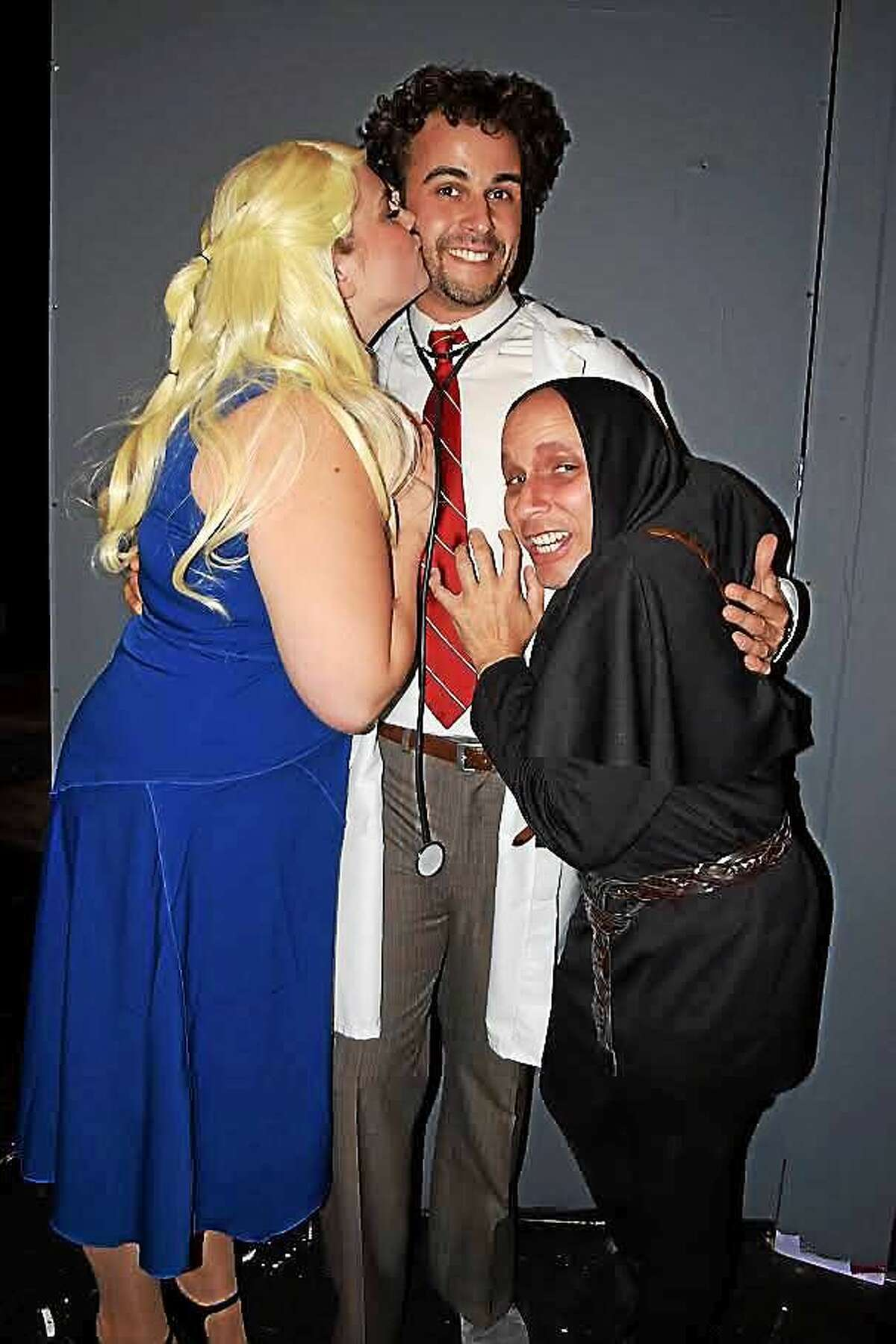 Contributed photo Johanna Regan (Inga), Tullio Milani (Dr. Frederick Frankenstein) and David Nunner (Igor) appear in Young Frankenstein at the Connecticut Theatre Company Oct. 2-18.