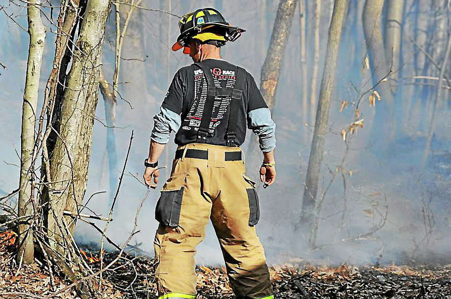 Olivia Drake- Special to the Press Firefighter Jay Selmer looks over the perimeter of a brush fire April 21 off Pokorny Road. Photo: Journal Register Co.