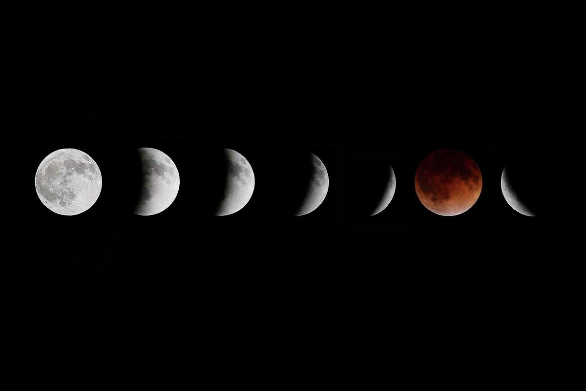 This composite photo shows multiple images of the moon during the stages of a lunar eclipse, as seen from Winnipeg, Manitoba, earlier this year.
