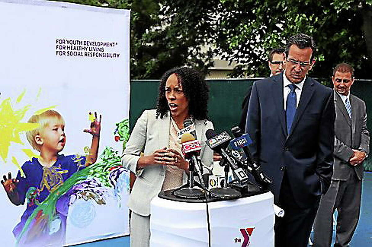 Myra Jones-Taylor, commissioner of the Early Childhood Office and Gov. Dannel P. Malloy